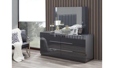 Warsaw 6-Drawer Dresser & Mirror, Grey-Dressers-Modarte-Jennifer Furniture