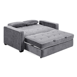 Grey full size pull out sleeper sofa with head rest and hand rest