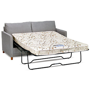 65 Inch Gray Sofa Bed With Mattress On Steel Frame