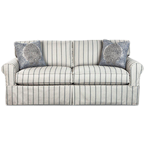 White stripped two seater sofa with two cushions