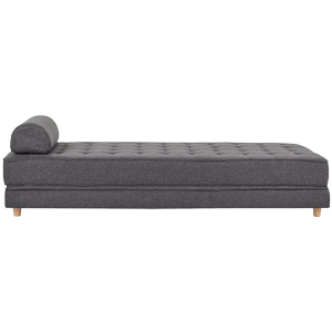 Lateral view of grey daybed sofa couch with headrest