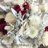Dried Flower Bouquet - Red Roses - Silver Ice Wedding Collection