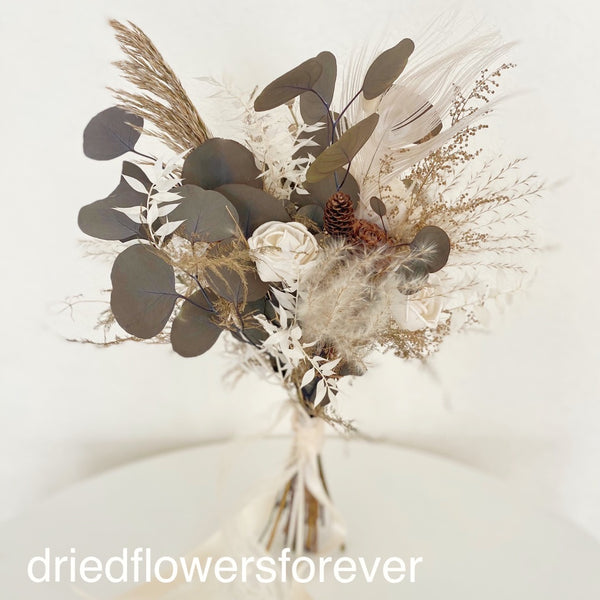 Cream and gold neutral dried flower bouquet