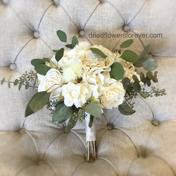 Dried Flower Bouquet - Green/Creamy White - Royal Wedding Collection