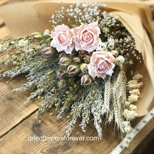 Pale pink peach dried flowers DIY  bouquet