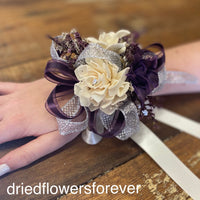 Purple and silver dried flower prom corsage
