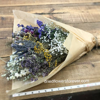 Purple blue lavender dried flowers bouquet DIY