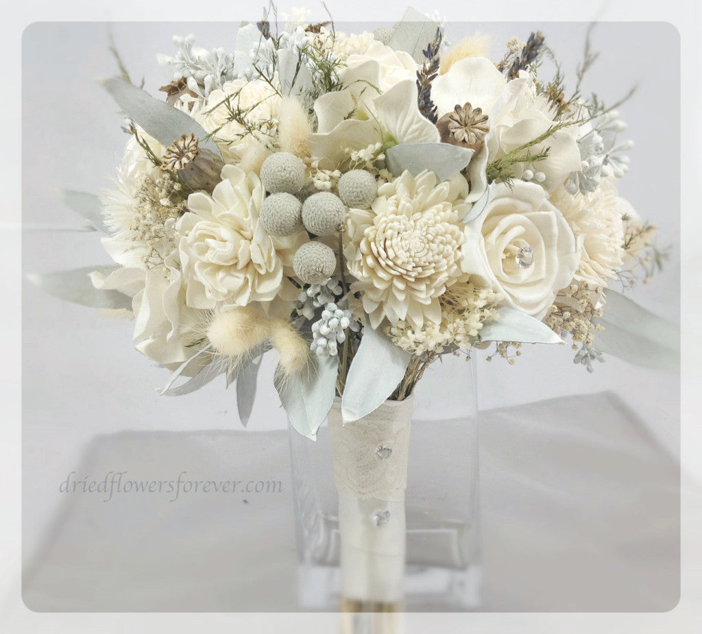 Wedding Bouquet - Silver Ice Collection with Gem Accents - Keepsake