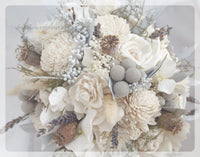 Dried Flower Bouquet - Silver/Ice Blue - Silver Ice Wedding Collection