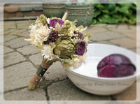 Dried Flower Bouquet - Purple/Moss Green - Woodland Wedding Collection