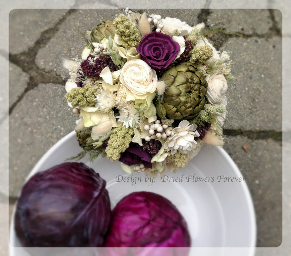 Wedding Bouquet - Woodland Moss Collection with Purple Accents