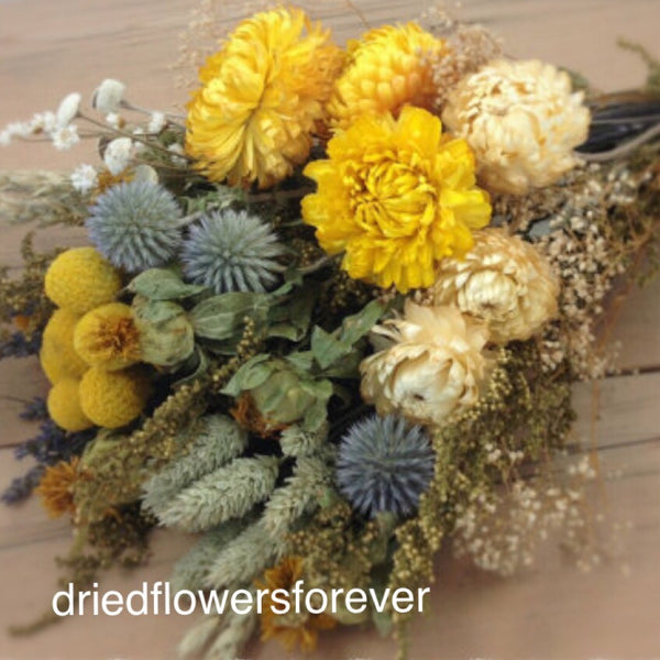Yellow and blue gray dried flower bouquet lavender strawflowers