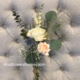 Dried flower simple peach rose pampas bouquet with eucalyptus