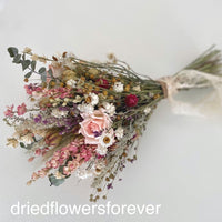 Pink Vintage w/ Blush Roses Wedding Bouquet - Dried Flowers