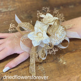 Gold and ivory white prom dried flower corsage 2