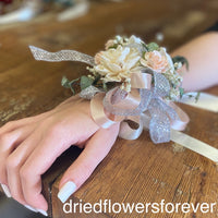 Pale peach and eucalyptus dried flower prom corsage