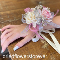Pink and silver dried flower prom corsage