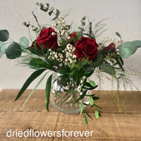 Dried flowers red real rose and eucalyptus arrangement