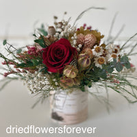 dried rose red peach pink flowers