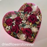 Dried valentine rose red pink flowers gift heart box