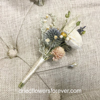 Dried Flower Bouquet - Peach/Blush/Blue - Garden Wedding Collection