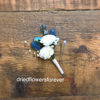 Turquoise Blue Wedding Bouquet - Dried Flowers