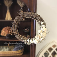 "18"" Grapevine Wreath with Ivory Dried Flowers"
