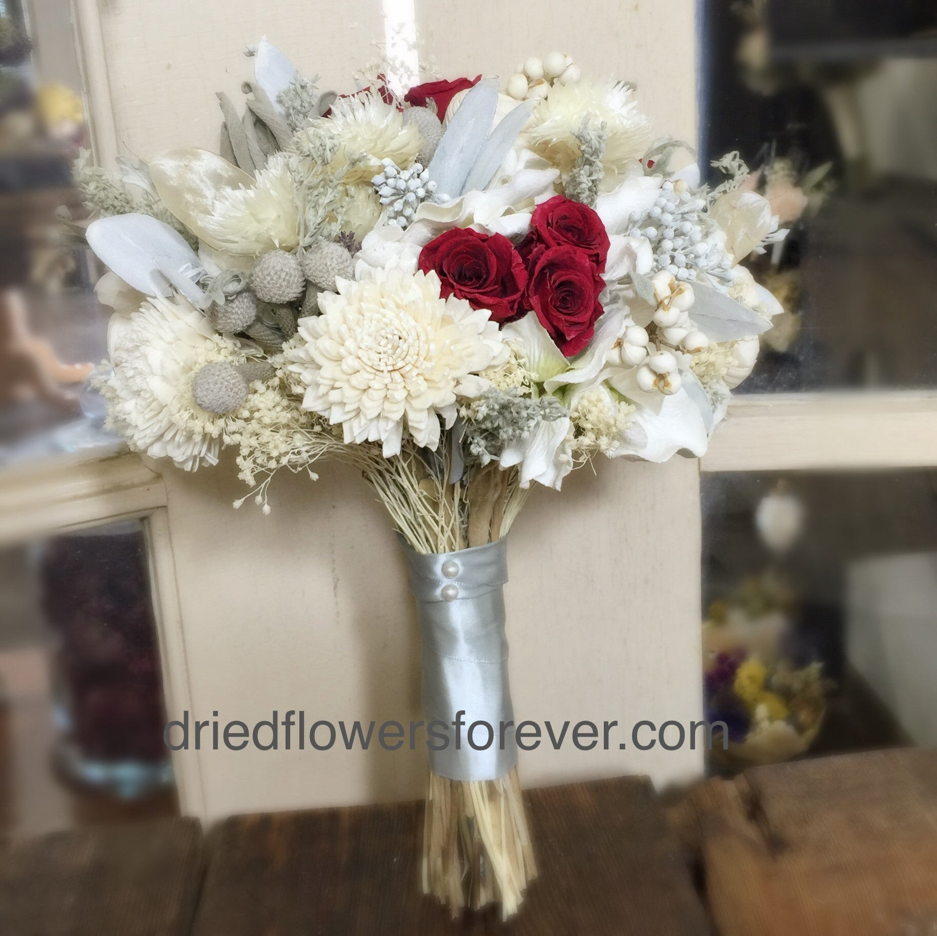 Keepsake Wedding Bouquet - Silver Ice Collection - Cranberry Red Roses & Gem Accents