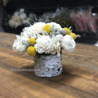 Yellow & Soft Gray Dried Floral Arrangement