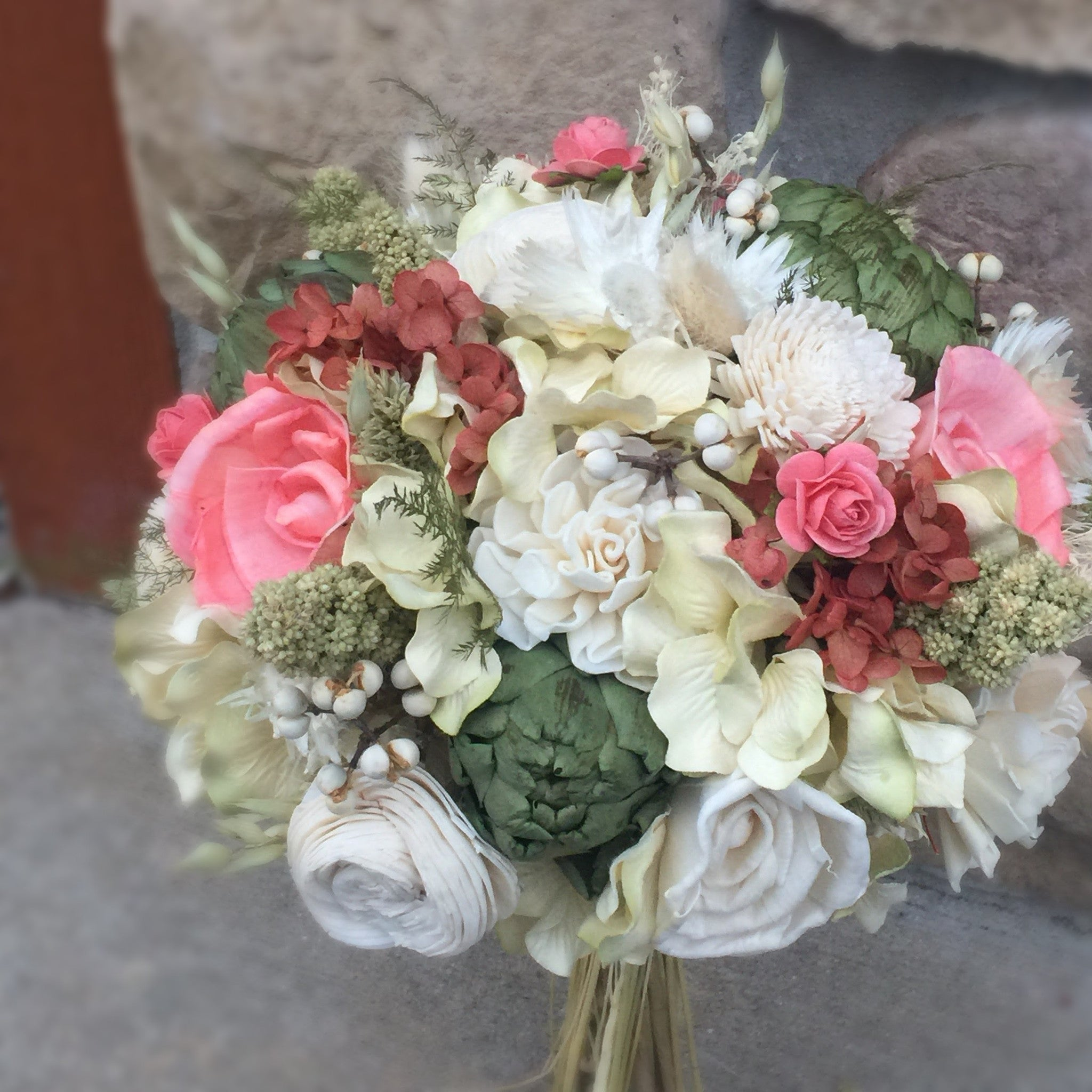 Coral Wedding Bouquet - Woodland Moss Collection - Preseved Flower ...