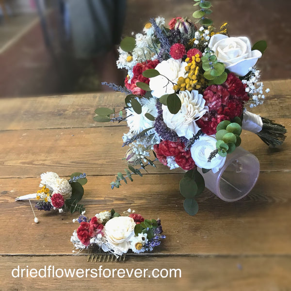 Dried Flower Bouquet - Burgundy - Wedding Collection