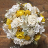 Golden Yellow Dried Flower Wedding Bouquet - Amore Collection