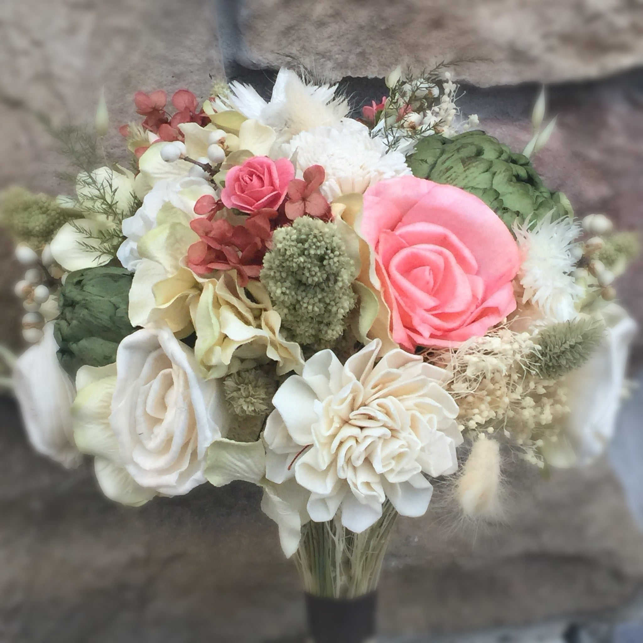 Coral Wedding Bouquet - Woodland Moss Collection - Preserved Flower Keepsake