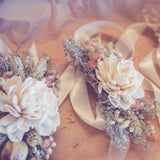 Peach Vintage Dried Flower Wrist Corsage