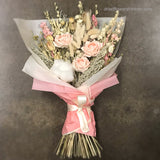 Pink peach blush dried flowers gift bouquet