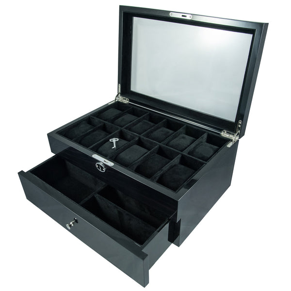 12 Piece Watch Box with Jewellery Drawer