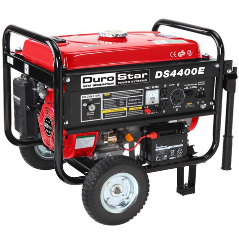 DuroStar - 4400W 7 HP Air Cooled OHV Gas Generator w/ Electric Start & Wheel Kit - DS4400E
