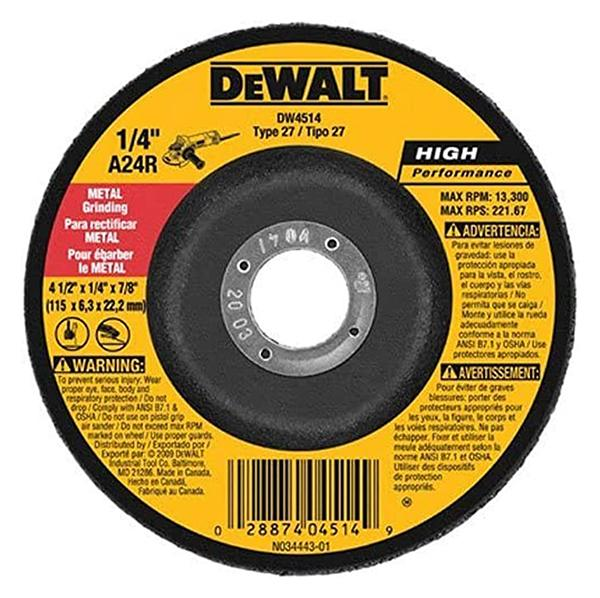 "Dewalt - 4-1/2"" x 1/4"" x 7/8"" High Performance Metal Grinding Wheel - DW4514B5"