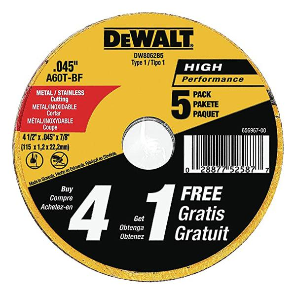 "Dewalt - 4.5"" x 0.045"" x 7/8"" Metal and Stainless Cutting Wheel (2 Pack) - DW8062B5"