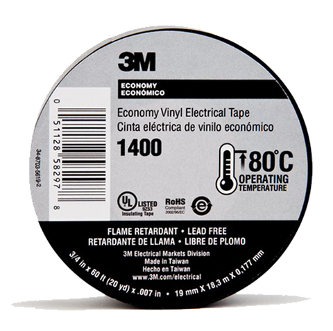"3M - Economy Vinyl Electrical Tape (3/4"" x 60') - 1400-EV"