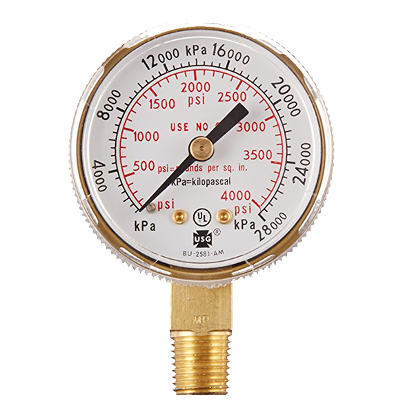 TurboTorch - Victor Replacement Gauge, 1.5 315BAR / 4568 PSI, Oxygen - 1435-0096RP