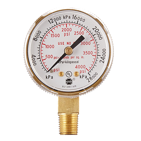 "TurboTorch - Victor 2"" 4000 psig Gold Tint Replacement Pressure Gauge - 1424-0019"