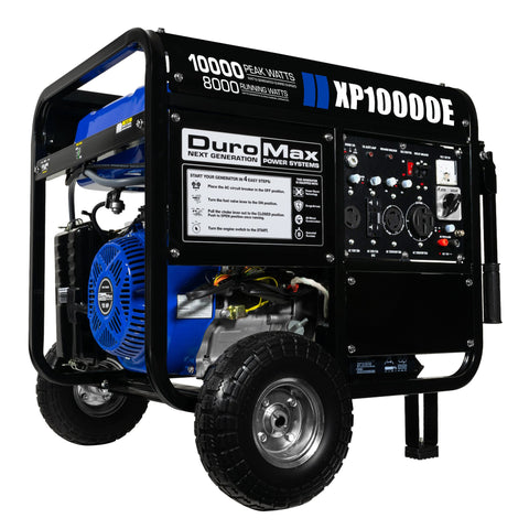 DuroMax - 10000W 18 HP Portable Gas Electric Start Generator RV Home Standby - XP10000E