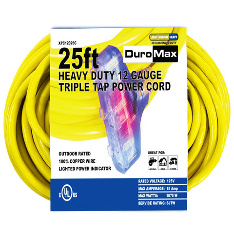 DuroMax - 25 ft 12 Gauge Triple Tap Extension Power Cord - XPC12025C