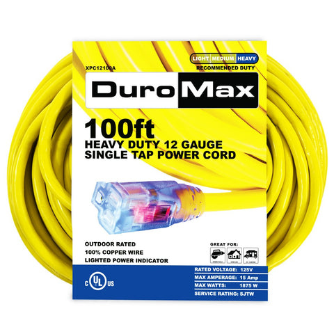 DuroMax - 100 ft. 12/3 Gauge Single Tap Extension Power Cord - XPC12100A