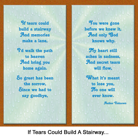photo regarding When Tomorrow Starts Without Me Printable named If Tears May perhaps Acquire a Stairway\
