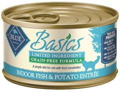 Food - BLUE Basics® Grain-Free Indoor Fish & Potato Entrée, 24 Cans, 3-oz