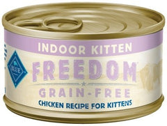 Food - BLUE Freedom® Grain-Free Indoor Chicken Recipe For Kittens, 24 Cans, 3-oz