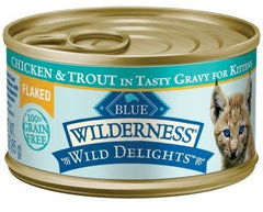 Food - BLUE Wilderness® Wild Delights™ Flaked Chicken & Trout, 24 Cans, 3-oz