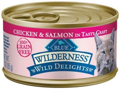 Food - BLUE Wilderness® Wild Delights™ Meaty Morsels Chicken & Salmon Recipe, 24 Cans, 3-oz